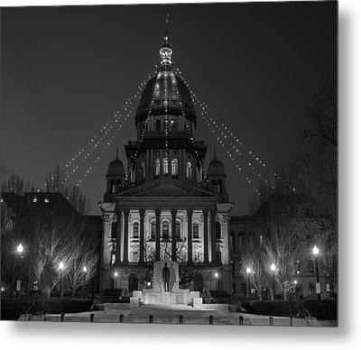 Illinois State Capitol B W Metal Print by Steve Gadomski