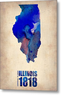 Illinois Watercolor Map Metal Print