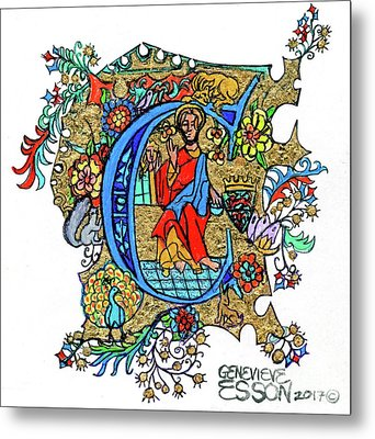 Illuminated Letter C Metal Print by Genevieve Esson