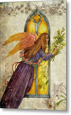 Metal Print featuring the painting Illustrated Angel And Lily by Judith Cheng