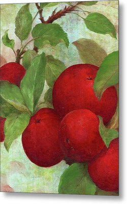 Metal Print featuring the painting Illustrated Apples by Judith Cheng