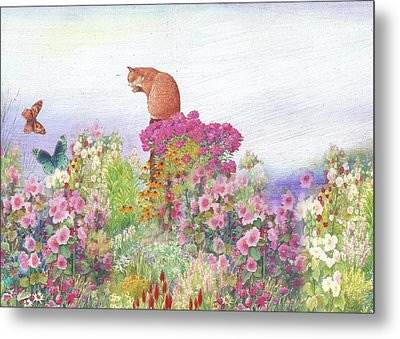 Illustrated Cat In Garden Metal Print by Judith Cheng