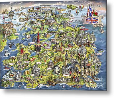 Illustrated Map Of The United Kingdom Metal Print