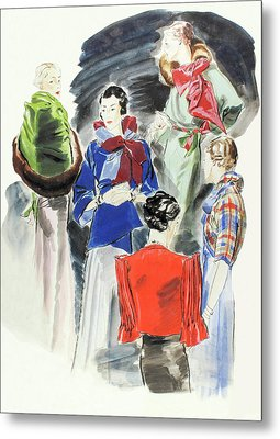 Illustration Of A Group Of Models Metal Print by Rene Bouet-Willaumez