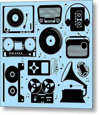 Illustration Of Different Musical Devices Metal Print by Olillia