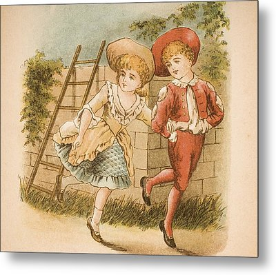 Illustration Of Girl And Boy From Old Metal Print by Vintage Design Pics