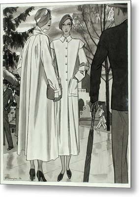 Illustration Of Two Women Wearing Coats Metal Print by Pierre Mourgue