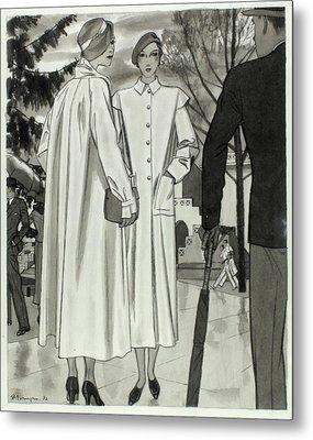 Illustration Of Two Women Wearing Coats Metal Print