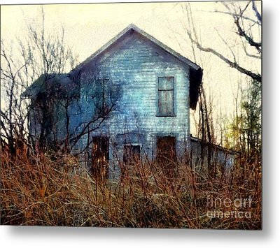 Metal Print featuring the photograph I'm Not Home Right Now, Please Leave A Message - Abandoned Farmhouse by Janine Riley