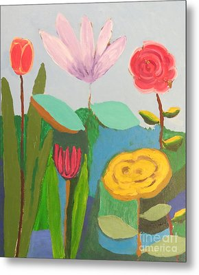 Metal Print featuring the painting Imagined Flowers One by Rod Ismay