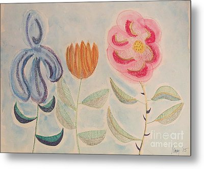 Metal Print featuring the painting Imagined Flowers Two by Rod Ismay