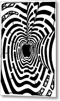 iMaze Apple Ad Maze Idea Metal Print by Yonatan Frimer Maze Artist