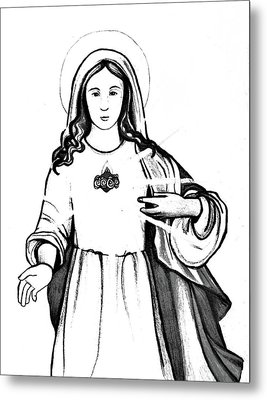 Metal Print featuring the drawing Immaculate Heart Of Mary by Mary Ellen Frazee