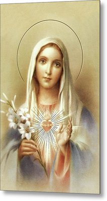 Metal Print featuring the mixed media Immaculate Heart Of Mary by Movie Poster Prints