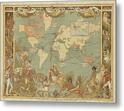 Metal Print featuring the digital art Imperial Map by Digital Art Cafe