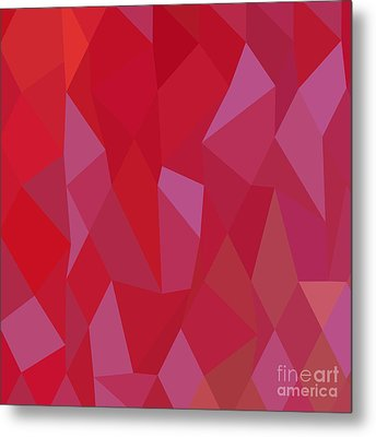 Imperial Purple Cadmium Red Abstract Low Polygon Background Metal Print by Aloysius Patrimonio