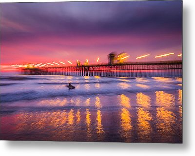Impression Of Sunset At Oceanside Pier - Abstract Photograph Metal Print by Duane Miller