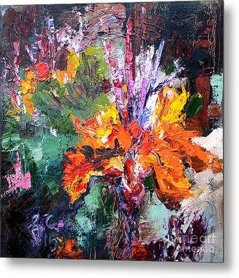 Impressionist Canna Flower Oil Painting  Metal Print by Ginette Callaway