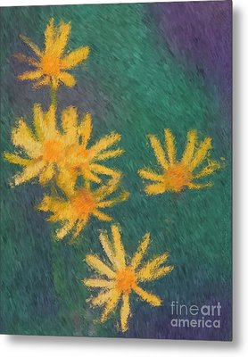 Metal Print featuring the painting Impressionist Yellow Wildflowers by Smilin Eyes  Treasures