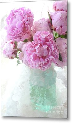 Impressionistic Romantic Pink Peonies Aqua Vase French Impressionism - Romantic Shabby Chic Peonies Metal Print by Kathy Fornal