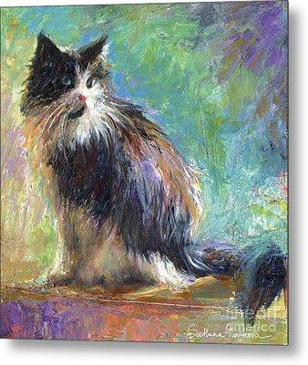 Impressionistic Tuxedo Cat Portrait Metal Print by Svetlana Novikova