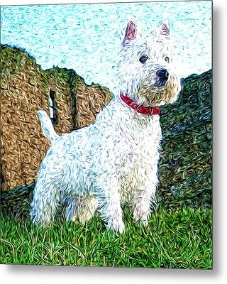Impressionistic Westie Metal Print by Laura Brightwood