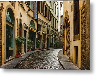 Impressions Of Florence - Walking On The Silver Street In The Rain Metal Print