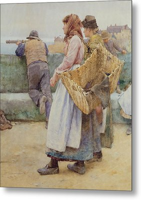 In A Cornish Fishing Village Metal Print by Walter Langley