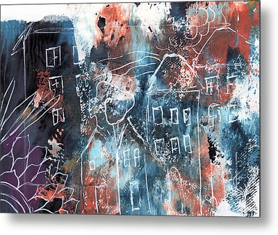 In A Northern Town- Abstract Art By Linda Woods Metal Print by Linda Woods