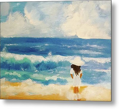 In Awe Of The Ocean Metal Print by Angela Holmes