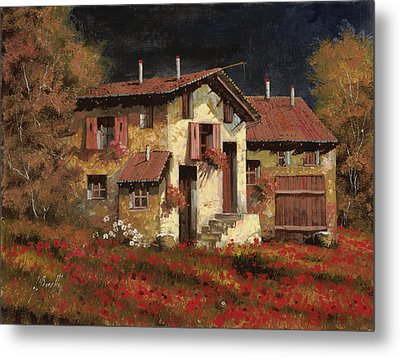 In Campagna La Sera Metal Print by Guido Borelli