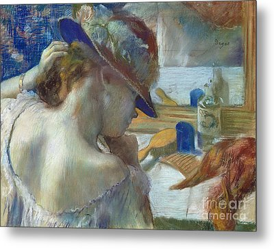 In Front Of The Mirror Metal Print by Edgar Degas