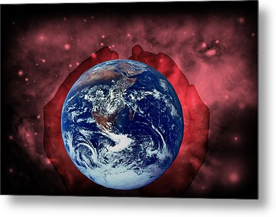 In His Hands Metal Print by Evelyn Patrick