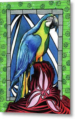 Metal Print featuring the painting In Love With A Macaw by Dora Hathazi Mendes