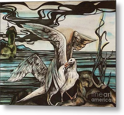 Metal Print featuring the drawing In Memory Of Deceased Friend. by Anna  Duyunova
