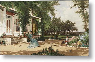 In My Neighbours Garden Metal Print by Alfred Thompson Bricher