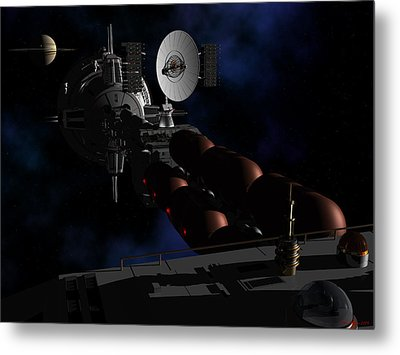 Metal Print featuring the digital art In Sight Of Saturn by David Robinson