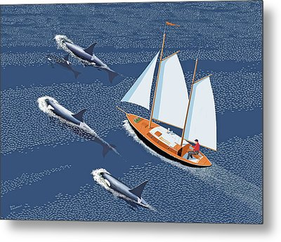 Metal Print featuring the digital art In The Company Of Whales by Gary Giacomelli