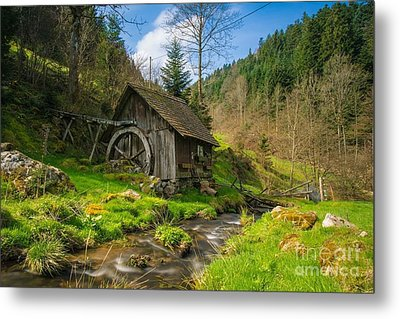 In The Countryside - Old Barn Near River Metal Print by Thomas Jones