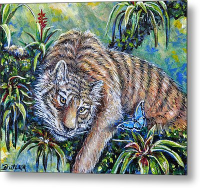 In The Eye Of The Tiger Metal Print by Gail Butler