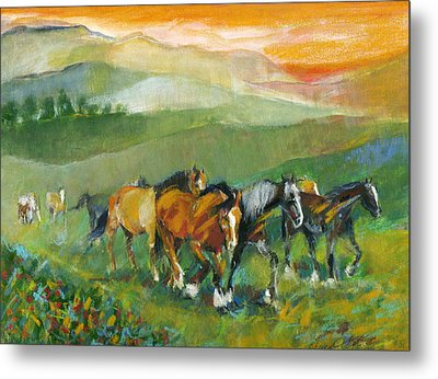 Metal Print featuring the painting In The Field by Mary Armstrong