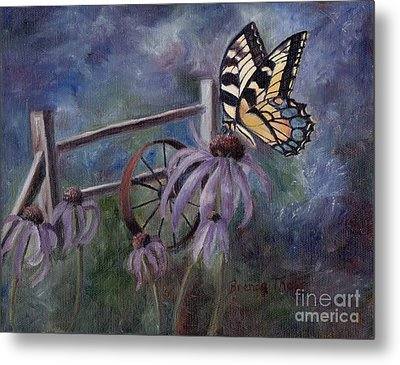 Metal Print featuring the painting In The Garden by Brenda Thour