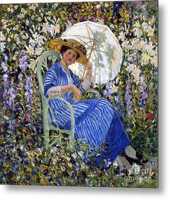 In The Garden Metal Print by Frederick Carl Frieseke