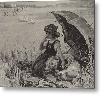In The Harvest Field, Guardians Of The Luncheon Basket Metal Print by Frederick Morgan