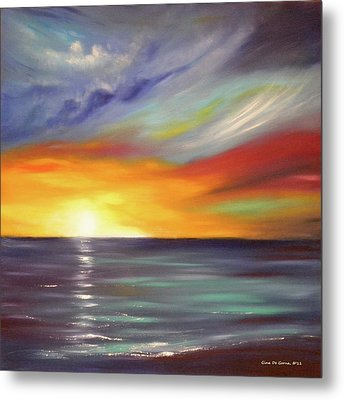 In The Moment Square Sunset Metal Print by Gina De Gorna