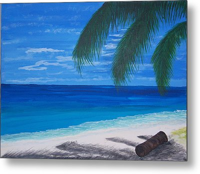 In The Shade Of A Palm Metal Print by Nancy Nuce