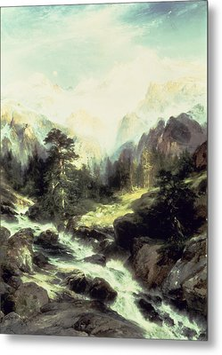 In The Teton Range Metal Print by Thomas Moran