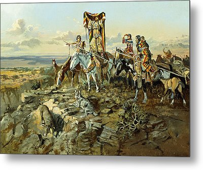 In The Wake Of The Hunters Metal Print by Charles Marion Russell