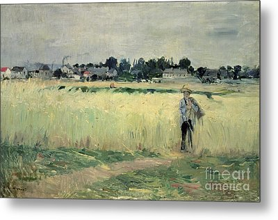 In The Wheatfield At Gennevilliers Metal Print
