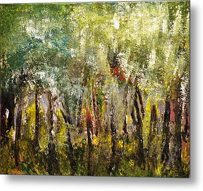 Metal Print featuring the painting In The Woods by Evelina Popilian